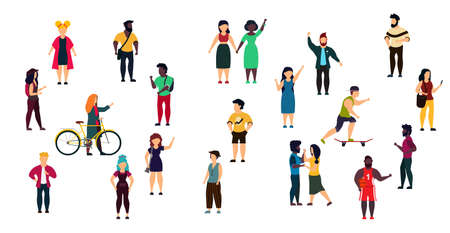 Vector city people person illustration isolated white crowd woman and man cartoon. Girl and boy group set collection trendy outdoor bundle character. Concept lifestyle community different human Illusztráció