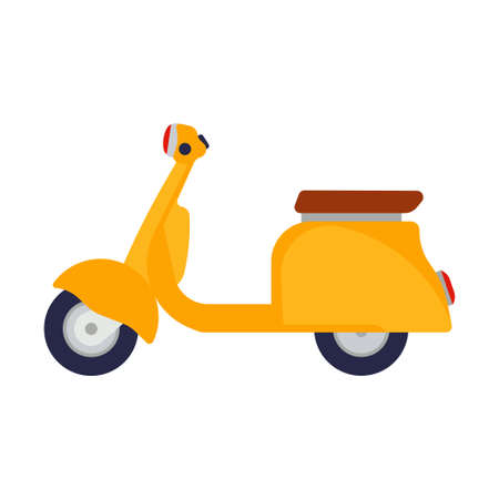 Yellow scooter vector illustration side view flat icon bike design. Transport isolated sport person motor speed. City cycle delivery electric bicycle. Urban lifestyle travel moped eco rent