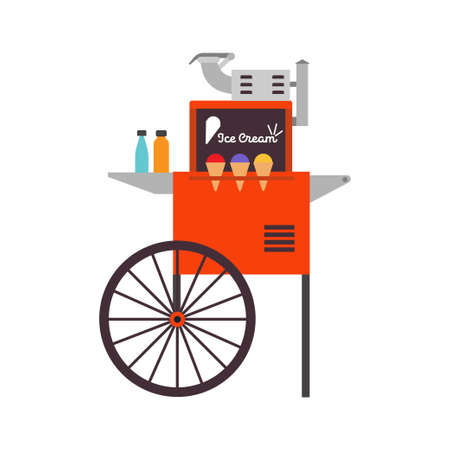 Ice cream ice cart vector dessert illustration food. Business kiosk shop market design delicious sweet cone icon. Summer stand stall frozen wheel store. Vintage trolley sundae equipment cafe