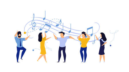 Person people vector illustration dance party woman and man. Happy friend fun disco club music dancer cartoon group celebration. Character background concert rejoice concept. Entertainment activity Ilustrace