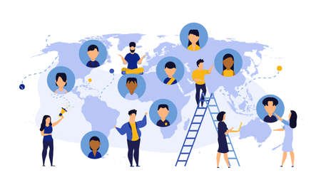 World business Earth map global technology consulting team. Cooperation globe idea teamwork with man and woman vector concept illustration background. Businessperson group coworker banner worldwide Illustration