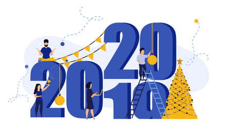 2020 person banner New Year vector illustration card background design. Happy Christmas celebration concept party poster holiday. Flat business office work teamwork festive. Invitation print team Foto de archivo - 146022480
