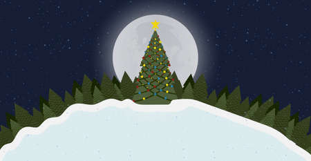 Merry Christmas card background with tree and snow at night forest with moon 2020. New Year design vector illustration graphic banner holiday. Greeting postcard xmas invitation art congratulation Foto de archivo - 146175224