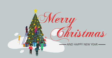 Xmas person people with tree and snow illustration New Year. Vector banner Happy Christmas card background with character and santa claus. Celebrate party friend group joy event. Winter holiday