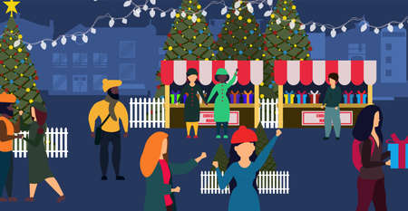 Christmas market shop vector winter card illustration city. People on street with couple town lifestyle holiday banner. Celebration background with gift and tree. Xmas happy event poster new year