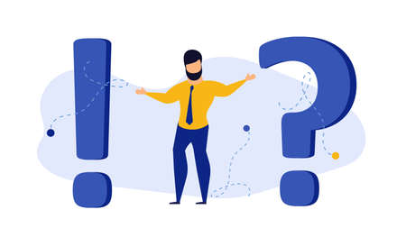 Person man asked question mark vector concept illustration people. Business cartoon character businessman answer help. Confusion problem support FAQ. Frequently choice office thinking background