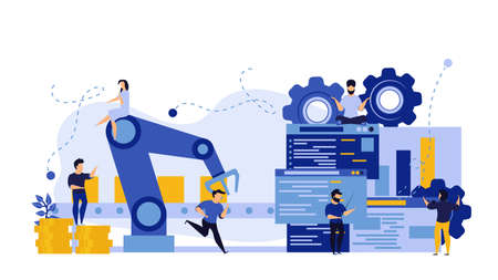 Vector business industry robot factory concept illustration future production process with infographic chart and people. Smart revolution technology machine conveyor line. Robotic system control goods Illustration