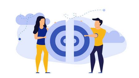 Target business puzzle concept vector illustration teamwork people. Businessman team strategy communication success. Idea jigsaw piece symbol. Connection goal cooperation partnership support together