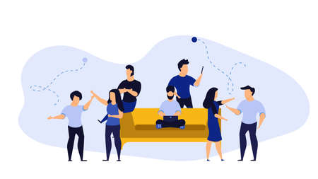 Office day vector illustration business work person cartoon. Flat character concept work design. Man and woman workplace employee job. Team life coworking daily. Busy human creative team meeting Foto de archivo - 146022409