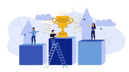 Success competition employee business person 3d illustration concept. Winner achievement vector challenge leadership career. Victory champion with cup award. Strategy target first prize trophy Illustration
