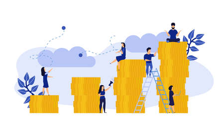 Business people finance performance job vector flat illustration concept. Coin ad marketing review group team background. Office work company teamwork. Corporate communication professional human banner.