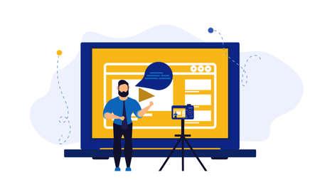 Video vloger business vector illustration concept. Web vlog design social media broadcast advertising creator. Online stream webinar movie tutorial. Explainer blog channel with camera. Blogging like Vecteurs