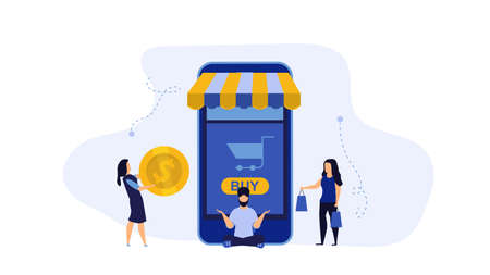 Retail buying vector display smart product illustration shopping store. People buy store bag shop market. Commerce business purchase concept. Consumerism with phone supermarket basket. Banking mobile Foto de archivo - 146022349