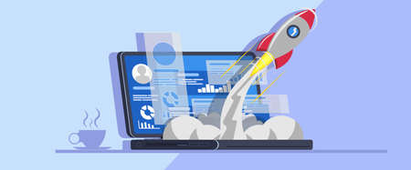 Launch new startup project from laptop vector illustration. Business success solution flat design technology. Start creative rocket up to sky banner. Computer development strategy innovation product.
