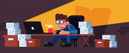 Business busy paper work vector workflow accountant man vector. Workaholic secretary with computer laptop illustration. Overworked pile desk document deadline. Office employee hard job workplace Foto de archivo - 146022298