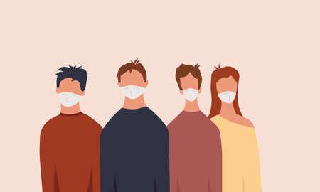 Group people man and woman with medical mask vector illustration. Face protection disease sick coronavirus. Epidemic quarantine warning pandemic character