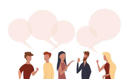 People chat talk dialogue vector communicate illustration teamwork. Network speech bubble community conversation concept. Character discussion connection idea Foto de archivo - 146022667