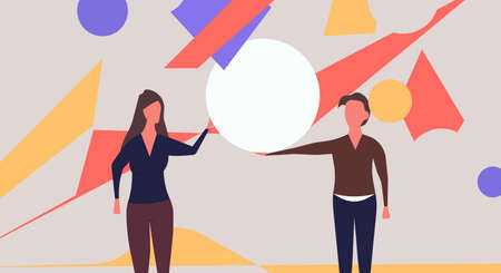 People organize abstract shape vector flat illustration teamwork. Character man and woman work with geometric figure and hold circle. Cooperation idea banner Illustration