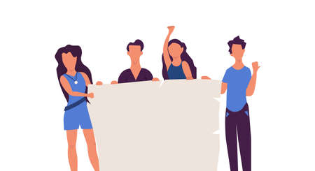 Standing people holding banner vector flat illustration. Character friend protest together blank. Group demonstration poster parade. Human activist community Foto de archivo - 146022813