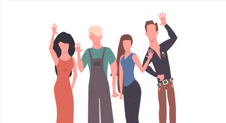 People greeting hand gesture vector flat illustration. Group say hello and welcome. Cartoon set friendship handshake together character cooperation. Happy crowd