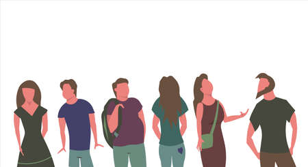 People in line vector flat illustration man and woman isolated on white. Concept group human social art background in row. Character cartoon crowd community Foto de archivo - 146022781