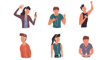 People listen music in earphone and headphone with phone cartoon vector set illustration. Teenager character dancing with device. Happy man and woman concept leisure Foto de archivo - 146022796