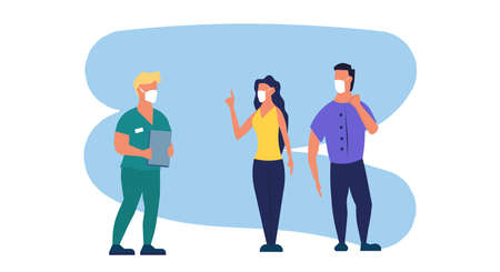 Reception at the doctor person vector flat illustration hospital. Health care patient man and woman character. Waiting consultation specialist visit. Diagnosis illness concept cartoon design.