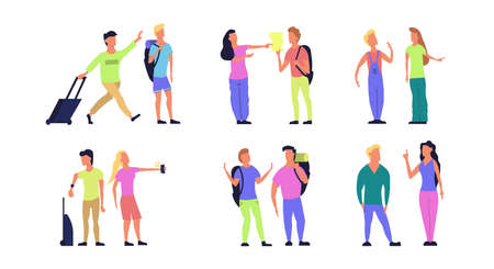 Travel tourist vector people flat illustration. Character vacation journey set. Couple trip icon adventure with backpack, phone. Happy summer element concept. Holiday collection isolated man and woman Foto de archivo - 146022899