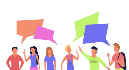 People talk communication vector flat illustration. Set character portrait with chat bubble icon. Speech discussion social meeting connection. Group team conversation dialog community together.