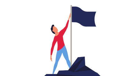 Man climbed to the top mountain with flag flat illustration achievement concept. Business goal leadership career winner. Climb growth employee motivation vision. Up hill direction challenge peak