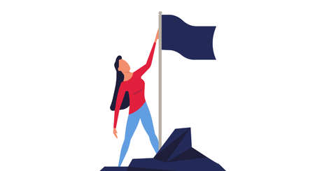 Woman climbed to the top mountain with flag flat illustration achievement concept. Business goal leadership career winner. Climb growth employee motivation vision. Up hill direction challenge peak Foto de archivo - 146022780