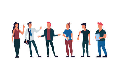 Business people discussing vector flat illustration. Businessman teamwork office meeting communication concept. Talking brainstorming character conversation company. Professional conference employee