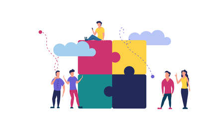 Puzzle team work vector illustration concept partner. Partnership teamwork business people collaboration together vector design. Concept jigsaw part solution group connect. Cooperation strategy idea