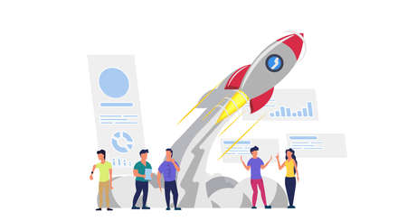 Business analytics in cloud arrow vector leadership company. People challenge teamwork up. Flat job marketing concept illustration. Growth with rocket investment service. Man and woman trend result Illustration