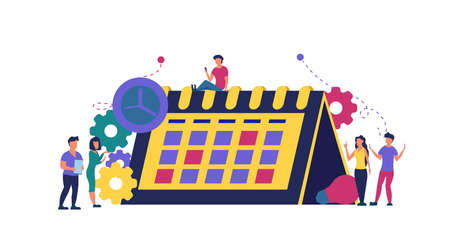 Calendar schedule week vector concept illustration. Student appointment employee agenda man and woman. Business plan with clock,pencil. Date time meeting day. Coworker banner office teamwork assign Illustration
