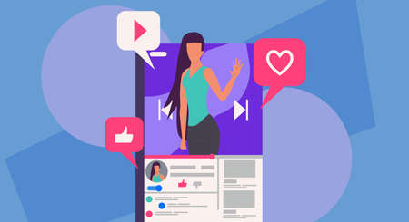 Woman blogger vector illustration communication internet. Online blog on smartphone concept social mobile network. Review like video content live streaming user. Phone vlog stream discussion speech