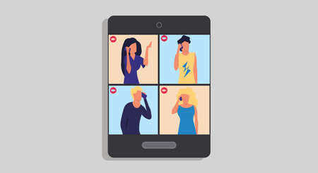 Group video call vector communication conference business screen technology. Office team chat meeting illustration network. Digital conversation remote talk. Virtual speak service teleconference Illustration
