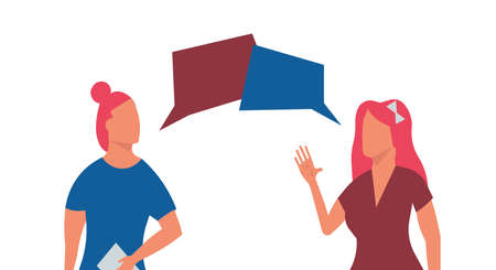 Two women talking vector flat illustration communication. Female discussion character group conversation background. Friend speech together concept design. Couple friendship lady gossip bubble dialog