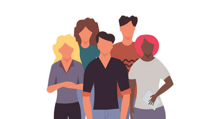 Business group people teamwork concept communication character set. Vector flat illustration social work leadership employee meeting background. Cartoon crowd standing human organization together
