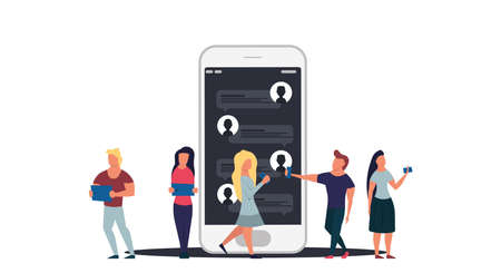 People online chat network concept illustration communication technology. Web mobile social message with man and woman connection, Group call application service conversation cyberspace conference. Foto de archivo - 146022862