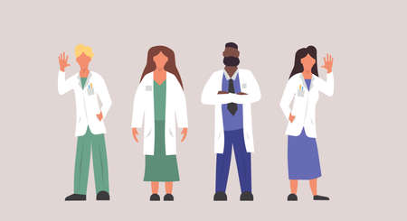Hospital doctor clinic illustration professional people person. Medicine health care man and woman character with uniform isolated. Profession practitioner team emergency group set. Help service job Illustration