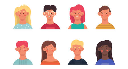 Cartoon kids cute happy set face head design. Child boy and girl friend group character drawing art. Isolated cheerful happiness smiling together concept collection. Doodle teenager team sign