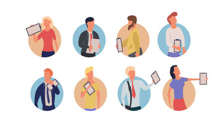 Set people with clipboard vector business illustration with man and woman concept. Character checklist document paper work office form. Questionnaire report plan achievement with happy human Illustration