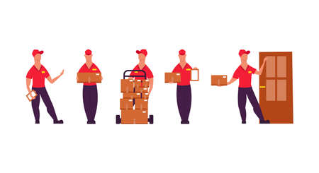 Delivery worker people illustration vector set with box service. Business man in uniform courier shipping job logistic. Cargo express character isolated. Mail container order post concept Illustration