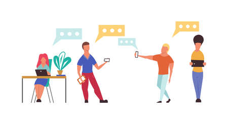 People using device in office vector flat illustration technology. Digital communication business with man and woman with laptop, phone. Social connection online lifestyle group. Media gadget network