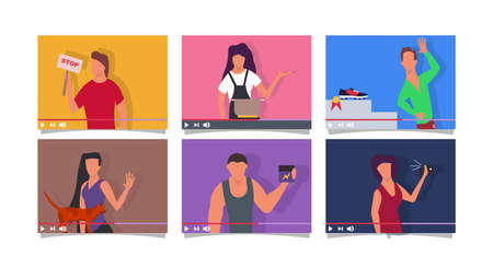 Blogger people on screen vlog vector flat illustration concept online video. Business internet communication social media. Digital network character marketing content live. Broadcast streaming share