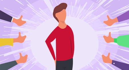 Public approval people person vector illustration concept. Hand accept acknowledgment gesture opinion. Respect character around thumb up feedback. Honor show favorite reputable. Agree choice proud