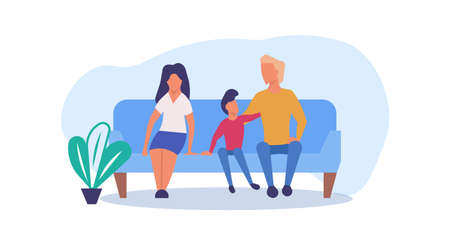 Family enjoying time together with child vector cartoon illustration. Father, mother and son fun lifestyle activity playing. Happiness parent love concept. Home leisure spend pastime parenthood banner