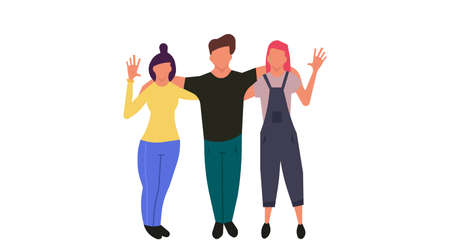 People welcoming greeting vector illustration. Happy man and woman business greeting hand concept. Isolated friendship office employee communication banner. Standing human partner crowd meeting