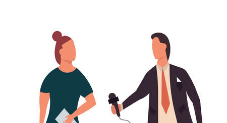 News reporter television illustration man with woman. Broadcasting communication journalist report media live. Interview with microphone newscaster banner. Channel paparazzi show video speech